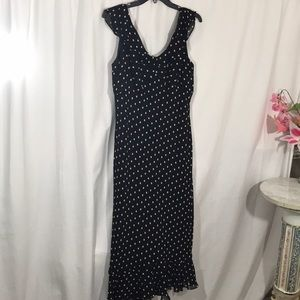Evan-Picone Black Dress with Cream Polka Dots